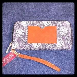 Merona Floral and Leather wristlet
